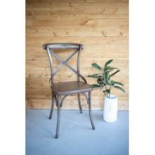 See Details - rustic iron cross back dining chair