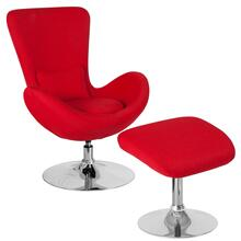 Red Fabric Side Reception Chair with Ottoman