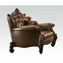 ACME Versailles Chair w/2 Pillows - 52102 - 2-Tone Light Brown PU & Cherry Oak