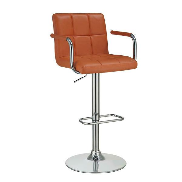 See Details - Contemporary Pumpkin and Chrome Adjustable Bar Stool With Arms