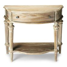 This elegant console table has a relaxed traditional aesthetic. Crafted from select hardwood solids and wood products, Its moderately distressed Driftwood finish enhances the oak veneer surfaces and hand carved details. It includes a handy storage drawer with antique brass finished hardware and a bottom shelf for display.