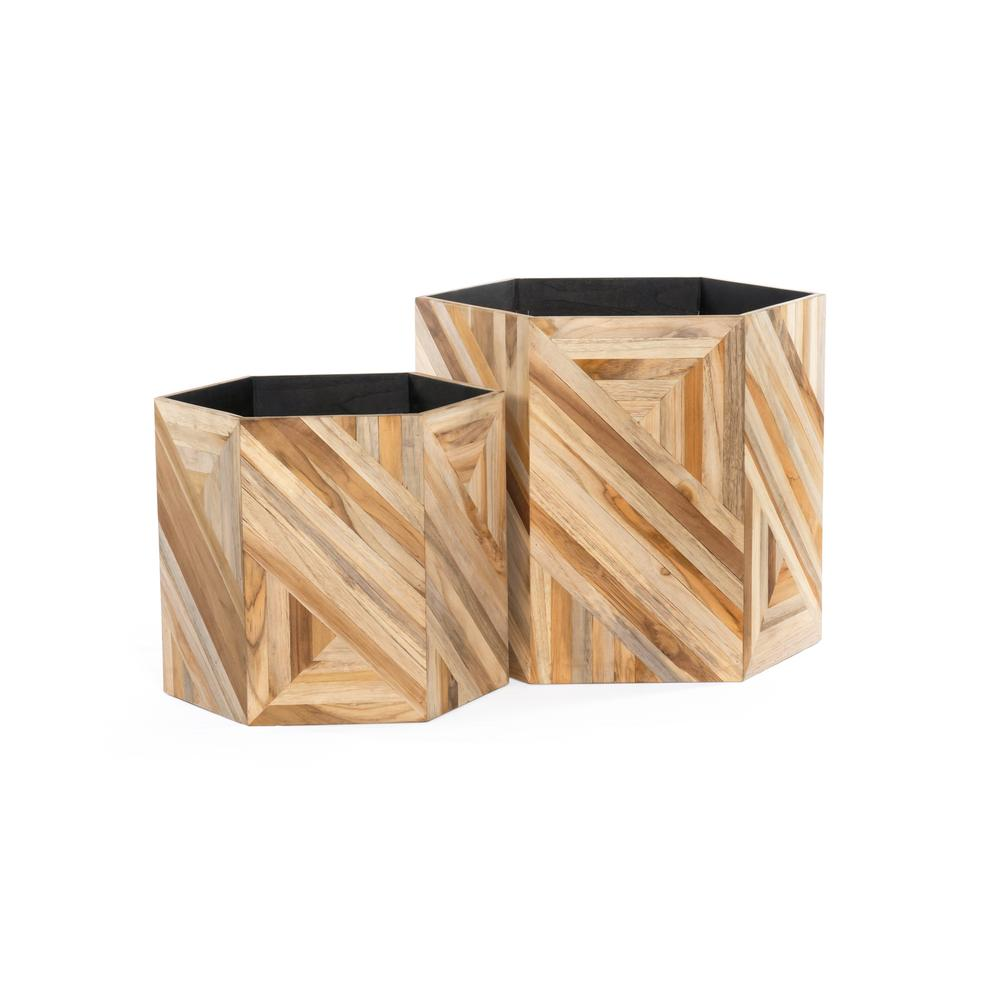 Oswell Planters, Set of 2-teak