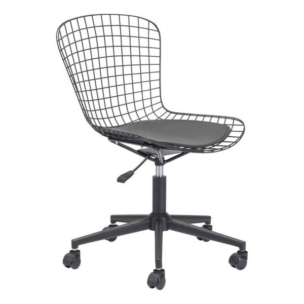 See Details - Wire Office Chair Black & Black Cushion