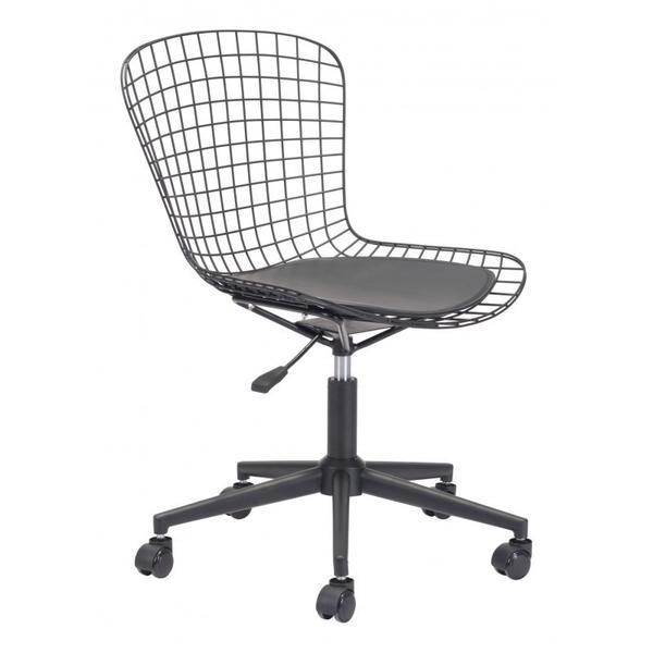 Wire Office Chair Black & Black Cushion