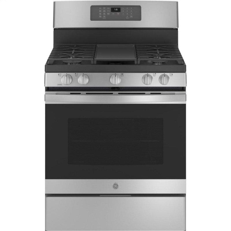 "GE(R) 30"" Free-Standing Gas Convection Range with No Preheat Air Fry"