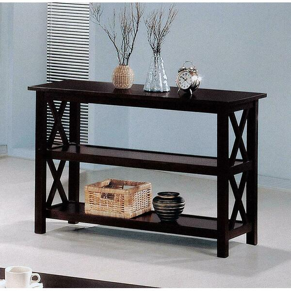 See Details - Merlot Double Shelf Sofa Table