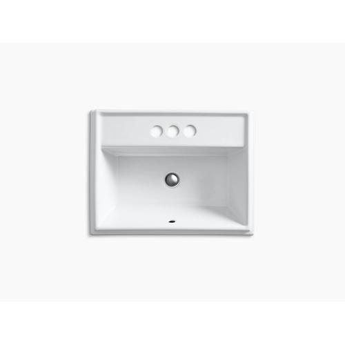 """Thunder Grey Drop-in Bathroom Sink With 4"""" Centerset Faucet Holes"""