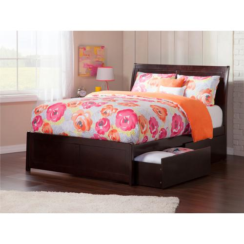 Atlantic Furniture - Portland Full Bed with Matching Foot Board with 2 Urban Bed Drawers in Espresso