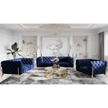Divani Casa Sheila Modern Dark Blue Fabric Sofa Set