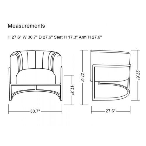 Gallery - Modrest Landau Modern Grey Velvet & Gold Accent Chair