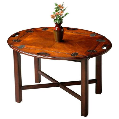 Selected solid woods, wood products and choice cherry veneers. Four-way matched cherry veneer top with cherry veneer end grain border. Four hinged sides with antique brass finished flush hinges.
