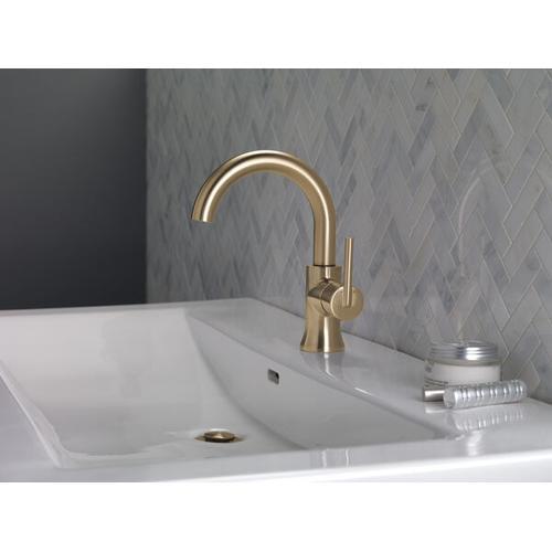 Champagne Bronze Single Handle High-Arc Bathroom Faucet