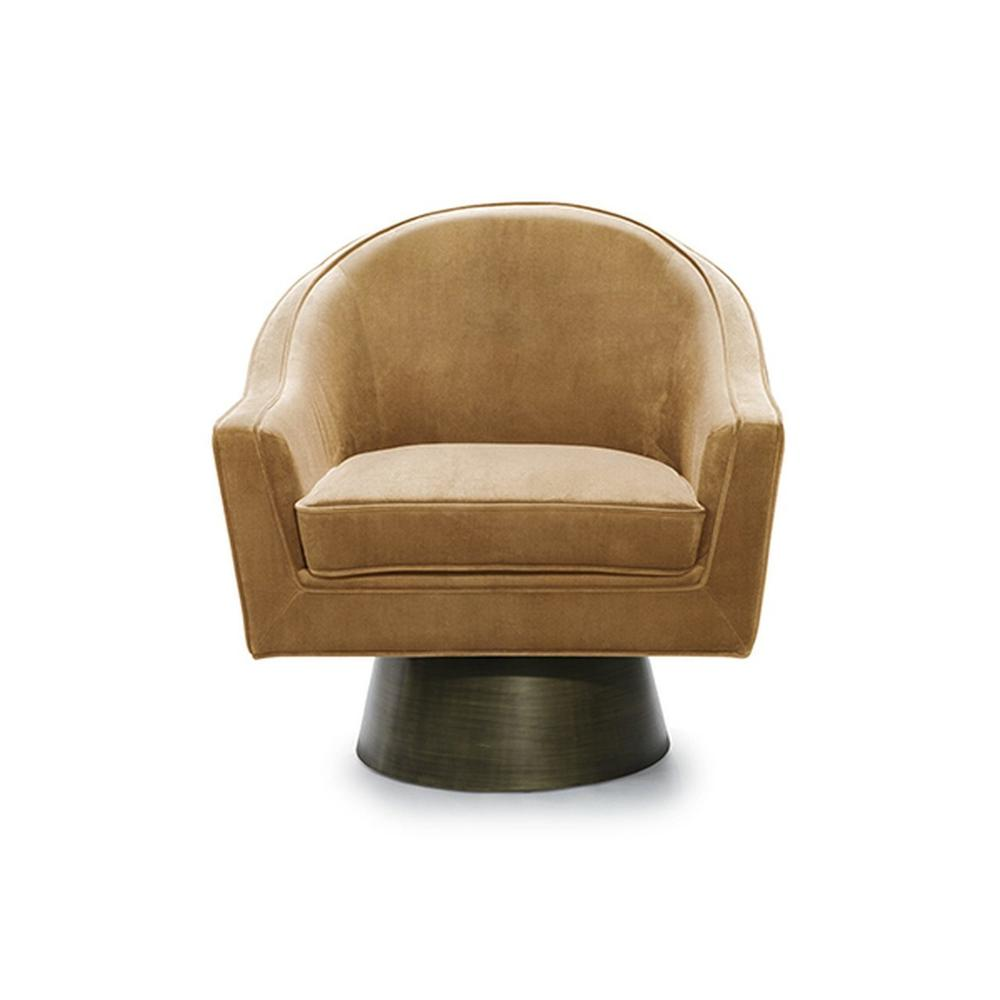 This Bold, Barrel Back Swivel Chair Will Steal the Show. Offered In Lux Camel Velvet With A Brushed Bronze Base, Our Dominic Occasional Chair Is Perfect for Your Deco Moderne or Mid Century Interior.
