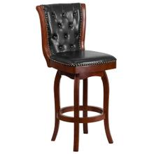 30'' High Cherry Wood Barstool with Black Leather Swivel Seat