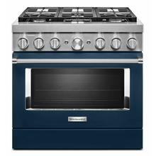 View Product - KitchenAid® 36'' Smart Commercial-Style Dual Fuel Range with 6 Burners - Ink Blue
