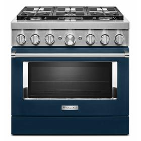 KitchenAid® 36'' Smart Commercial-Style Dual Fuel Range with 6 Burners - Ink Blue