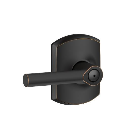 Broadway Lever with Greenwich trim Bed & Bath Lock - Aged Bronze