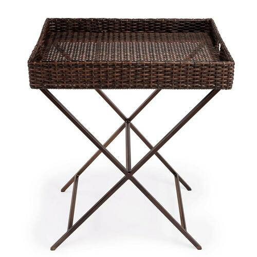 Butler Specialty Company - Function and form come together on this beautiful PU Rattan weave Tray Table. The simplistic design of this tray table is enhanced by a 'POP of contemporary design. The removable tray offer all attentions to function and details. The fresh new look of this tary table with simple metal base will bring new life to your entertaining style. Great for outdoor usage.