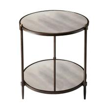 This transitional side table is a beautiful accent in any space. The all metal frame construction features a pewter finish with gold undertones together with gold knob accents along the top. The antiqued mirror top and lower shelf provide character and di