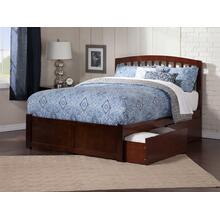Richmond King Flat Panel Foot Board with 2 Urban Bed Drawers Walnut