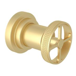 Campo Trim for Volume Control and 4-Port Dedicated Diverter - Satin Unlacquered Brass with Industrial Metal Wheel Handle