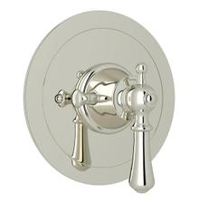 Georgian Era Round Thermostatic Trim Plate without Volume Control - Polished Nickel with Metal Lever Handle