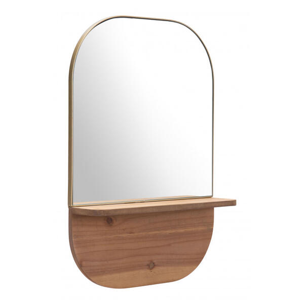 Meridian Shelf Mirror Gold & Brown