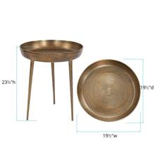 See Details - Round Antique Brass Tray Table, Large