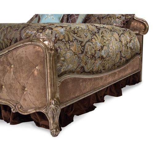 Cal King Panel Bed W/brown Fabric
