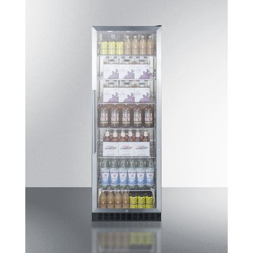Product Image - Full-size Commercial Beverage Center With Stainless Steel Interior, Self-closing Glass Door, and Stainless Steel Wrapped Cabinet