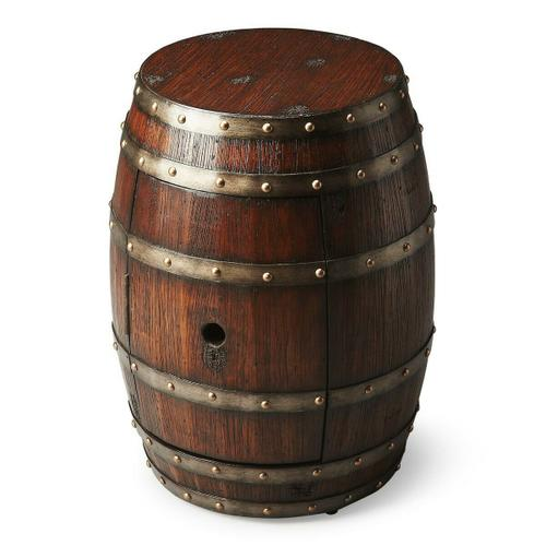 Butler Specialty Company - Crafted from solid wood and wood products thtat are bound six polished metal bands, this Barrel Table features a surprisingly large storage area behind the door with a hole that would make any bird proud.