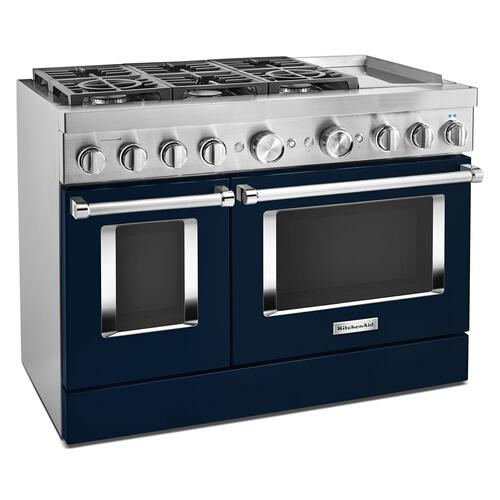 KitchenAid® 48'' Smart Commercial-Style Dual Fuel Range with Griddle Ink Blue