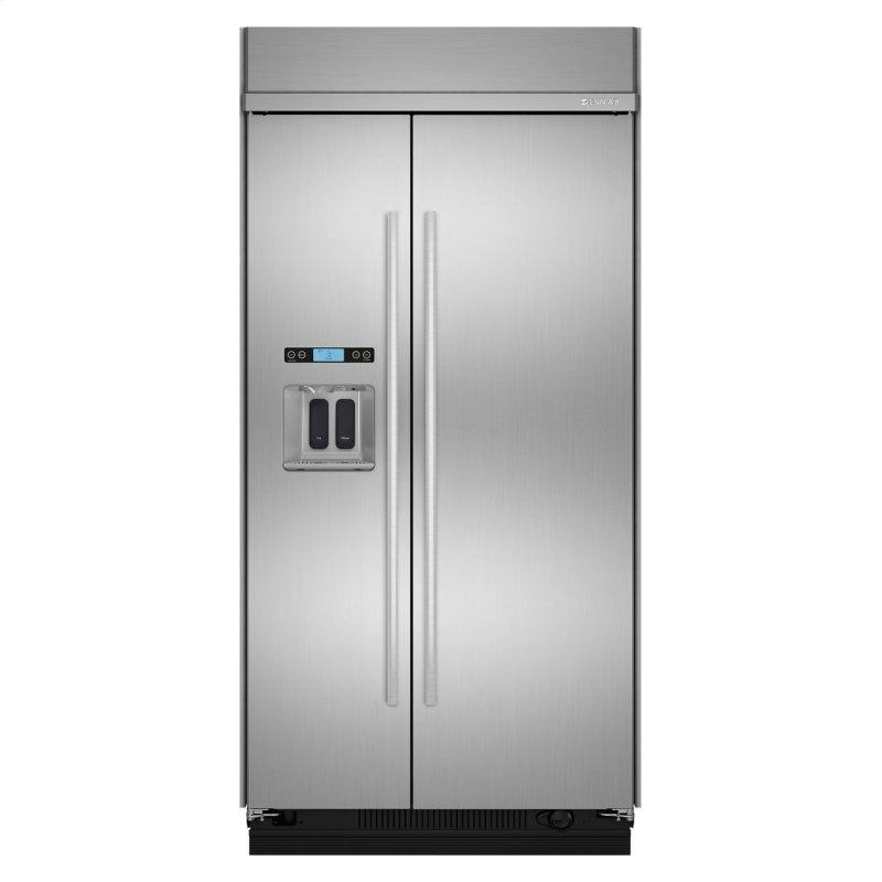 """42"""" Built-In Side-by-Side Refrigerator with Water Dispenser Stainless Steel"""