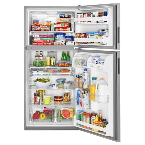 Maytag - 33-Inch Wide Top Freezer Refrigerator with PowerCold® Feature- 21 Cu. Ft. Monochromatic Stainless Steel