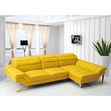 See Details - Divani Casa Leven - Modern Yellow Leather Right Facing Sectional Sofa