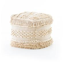 Braided Fringe Pouf-cream