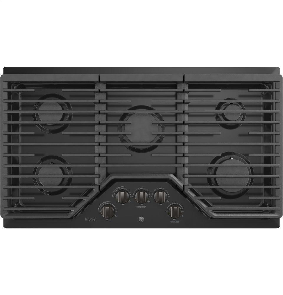 """GE Profile36"""" Built-In Gas Cooktop With An Optional Extra-Large Cast Iron Griddle"""