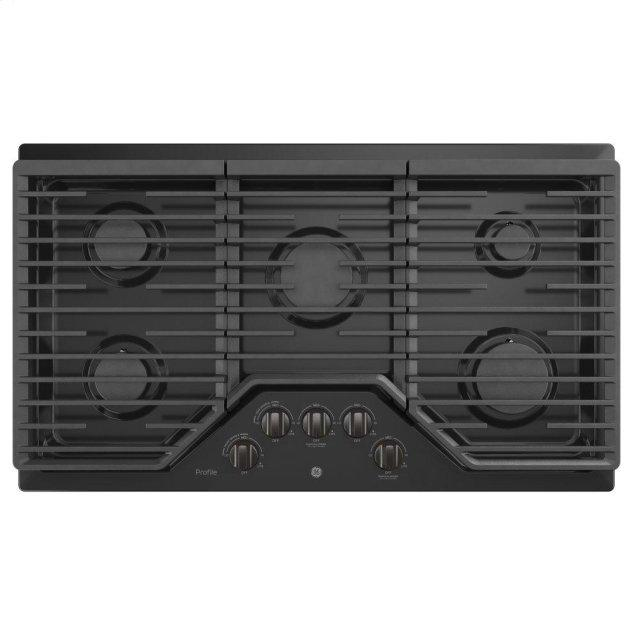 "GE Profile 36"" Built-In Gas Cooktop with Optional Extra-Large Cast Iron Griddle"