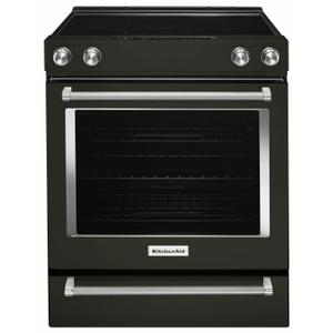 KitchenAid30-Inch 5-Element Electric Slide-In Convection Range - Black Stainless Steel with PrintShield™ Finish