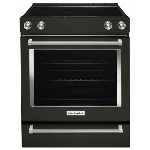 KitchenAid - 30-Inch 5-Element Electric Slide-In Convection Range - Black Stainless Steel with PrintShield™ Finish