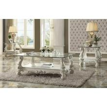 ACME Versailles Coffee Table - 82103 - Bone White & Clear Glass