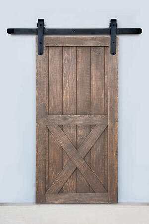 5' Barn Door Flat Track Hardware - Smooth Iron Round Style Product Image
