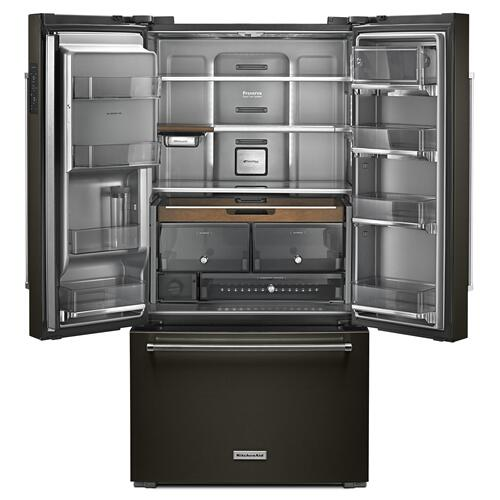 "23.8 cu. ft. 36"" Counter-Depth French Door Platinum Interior Refrigerator with PrintShield Finish Black Stainless Steel with PrintShield™ Finish"