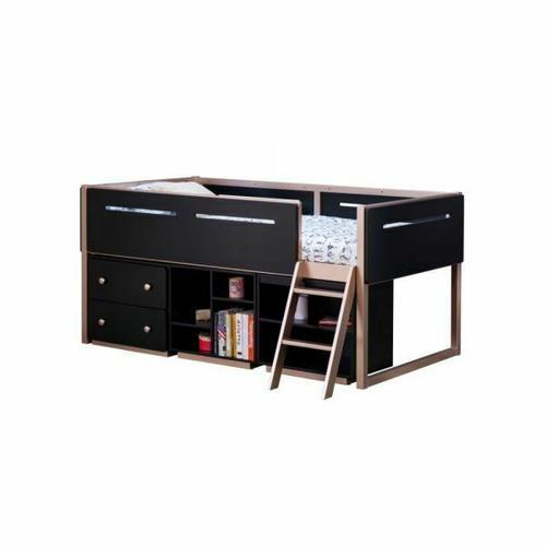 ACME Prescott Bookshelf (4 Compartments) - 37985 - Industrial - Wood (Rbw), Wood Veneer (Poplar, LVL), MDF - Black and Rose-Gold