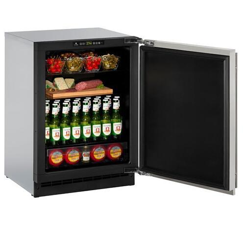 """U-Line - 2224r 24"""" Refrigerator With Stainless Solid Finish and Field Reversible Door Swing (115 V/60 Hz Volts /60 Hz Hz)"""