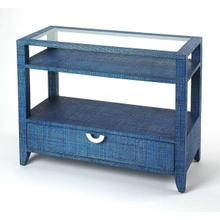 See Details - Bring a little of the outdoors in with this blue raffia clad console table. This glass topped console table adds convenient storage space and great looks in any room. Dressed in a ocean blue finish, the piece features a single storage drawer with a silver finished crescent drawer pull and two shelves for books, magazines, decorative items and more.