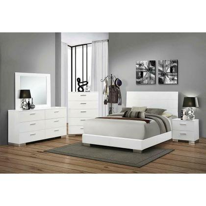 See Details - Felicity Contemporary Glossy White Queen Bed