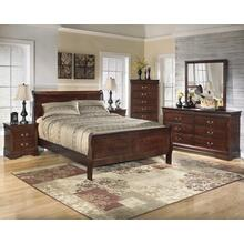 B376 7PC SET: Full Sleigh Bed, Dresser, Mirror, Chest, Nightstand (Alisdair)