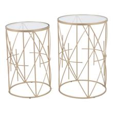 Set Of 2 Hadrian Side Tables Gold & Clear