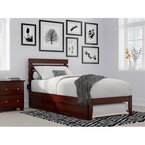 Oxford Twin Extra Long Bed with USB Turbo Charger and Twin Extra Long Trundle in Walnut